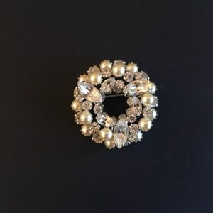 Sherman Crystal and Pearl Layered Wreath Brooch